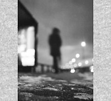Man waiting at bus stop at night in winter square black and white analogue medium format film Hasselblad  photo Unisex T-Shirt