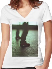 Surrealist photo of legs walking without bodies square color analogue medium format film Hasselblad photo Women's Fitted V-Neck T-Shirt