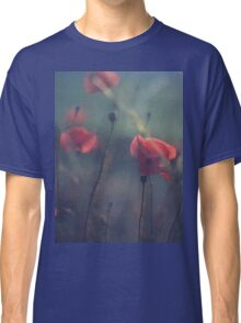 Red wild flowers poppies on hot summer day in blue tones Hasselblad square medium format film analogue photo Classic T-Shirt