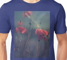 Red wild flowers poppies on hot summer day in blue tones Hasselblad square medium format film analogue photo Unisex T-Shirt