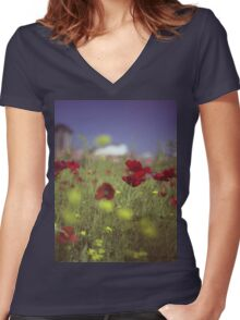 Red wild flowers poppies on hot summer day in urban city wasteland Hasselblad square medium format film analogue photo Women's Fitted V-Neck T-Shirt