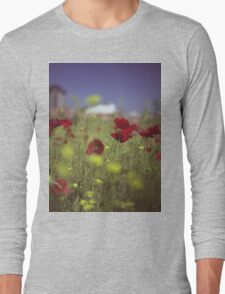 Red wild flowers poppies on hot summer day in urban city wasteland Hasselblad square medium format film analogue photo Long Sleeve T-Shirt