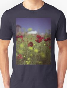 Red wild flowers poppies on hot summer day in urban city wasteland Hasselblad square medium format film analogue photo Unisex T-Shirt
