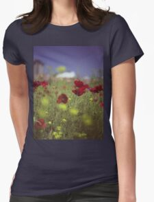 Red wild flowers poppies on hot summer day in urban city wasteland Hasselblad square medium format film analogue photo Womens Fitted T-Shirt