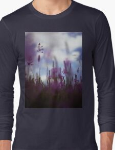 Long grass and wild flowers on summer day in Spain square medium format film analogue photography Long Sleeve T-Shirt