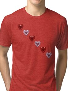 Pink and Red Hearts Tri-blend T-Shirt