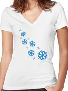 Blue snowflakes Women's Fitted V-Neck T-Shirt