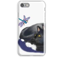 Dragonfly Buzzes a Resting Cat iPhone Case/Skin