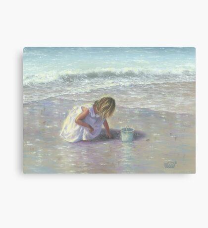 FINDING SEA GLASS BLOND BEACH GIRL Canvas Print
