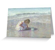 FINDING SEA GLASS BLOND BEACH GIRL Greeting Card