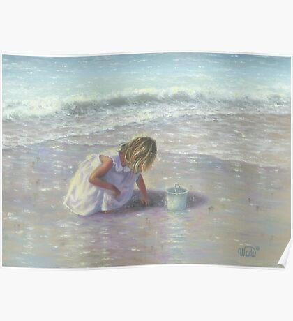 FINDING SEA GLASS BLOND BEACH GIRL Poster
