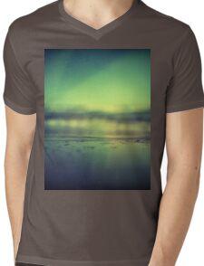 Coastal shoreline in surreal green blue Hasselblad medium format film analog photograph Mens V-Neck T-Shirt