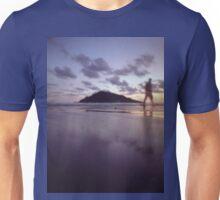 Man walking on beach dusk sunset evening sky Hasselblad medium format film analogue photograph Unisex T-Shirt