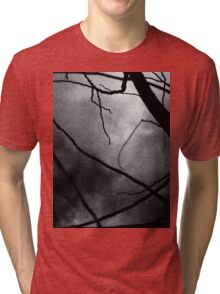 Tree branches in silhouette against winter sky black and white silver gelatin 645 medium format film analog photo Tri-blend T-Shirt
