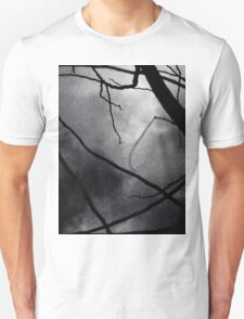 Tree branches in silhouette against winter sky black and white silver gelatin 645 medium format film analog photo T-Shirt