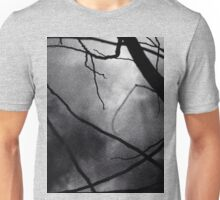 Tree branches in silhouette against winter sky black and white silver gelatin 645 medium format film analog photo Unisex T-Shirt