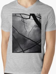 Tree branches in silhouette against winter sky black and white silver gelatin 645 medium format film analog photo Mens V-Neck T-Shirt