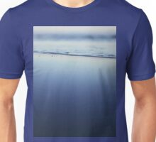 Mediterranean sea at low tide on beach Ibiza Spain dusk sunset evening colors square film analogue photo Unisex T-Shirt