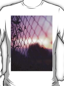 Wire fence and foliage on summer evening  in Spain square medium format film analogue photo T-Shirt