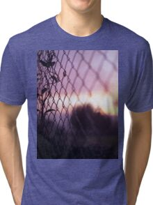 Wire fence and foliage on summer evening  in Spain square medium format film analogue photo Tri-blend T-Shirt