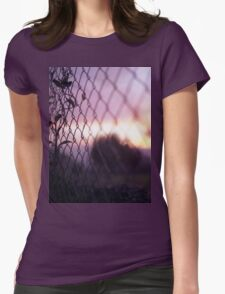 Wire fence and foliage on summer evening  in Spain square medium format film analogue photo Womens Fitted T-Shirt