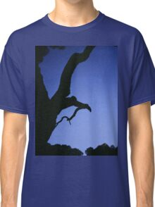 Tree branches in silhouette against blue dusk sky  square medium format film analogue photographs Classic T-Shirt