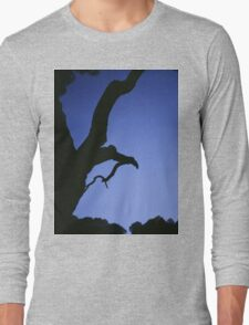 Tree branches in silhouette against blue dusk sky  square medium format film analogue photographs Long Sleeve T-Shirt