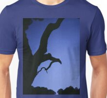 Tree branches in silhouette against blue dusk sky  square medium format film analogue photographs Unisex T-Shirt
