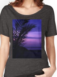 Palm tree on beach Ibiza silhouette against dusk sunset sky square medium format film analogue photos Women's Relaxed Fit T-Shirt