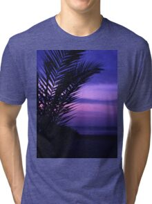 Palm tree on beach Ibiza silhouette against dusk sunset sky square medium format film analogue photos Tri-blend T-Shirt