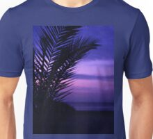 Palm tree on beach Ibiza silhouette against dusk sunset sky square medium format film analogue photos Unisex T-Shirt