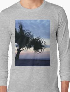Tropical palm tree on beach Ibiza silhouette dusk sunset sky square medium format film analog photographs Long Sleeve T-Shirt