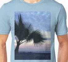 Tropical palm tree on beach Ibiza silhouette dusk sunset sky square medium format film analog photographs Unisex T-Shirt