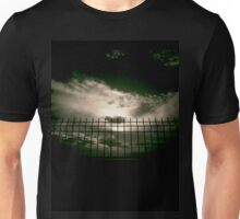 Fence against sky and clouds black and white analog 35mm silver gelatin black and white film photographs Unisex T-Shirt