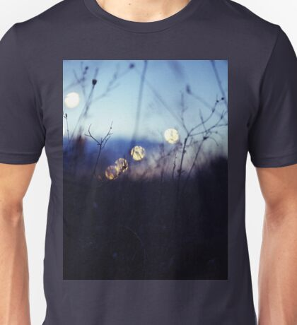 Long wild grass on summer evening twilight dusk blue bokeh square Hasselblad medium format film analog photo Unisex T-Shirt