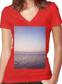 Coastal shoreline in square blue low tide sea water closeup macro medium format film analog photo Women's Fitted V-Neck T-Shirt