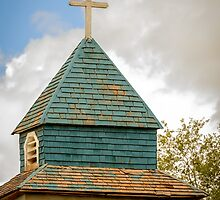 Cross and steeple on an old church by CBott