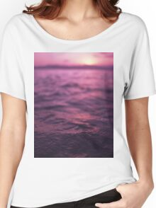Mediterranean sea water off Ibiza Spain in surreal purple sunset evening dusk colors film analog photo Women's Relaxed Fit T-Shirt