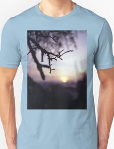 Tree branch in silhouette against sunset dusk evening sky square medium format film analog photographers Unisex T-Shirt