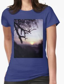 Tree branch in silhouette against sunset dusk evening sky square medium format film analog photographers Womens Fitted T-Shirt