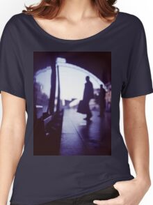 Passenger with luggage boarding old train in station blue square Hasselblad medium format film analog photo Women's Relaxed Fit T-Shirt