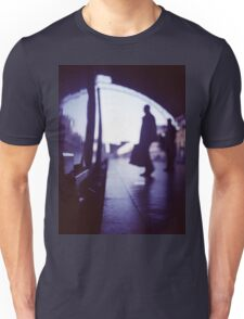 Passenger with luggage boarding old train in station blue square Hasselblad medium format film analog photo Unisex T-Shirt