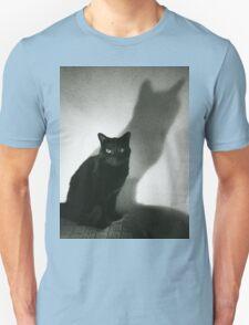 Portrait of black cat on sofa film noir chiaro scuro black and white square silver gelatin film analog photo Unisex T-Shirt