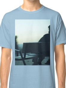 Man sitting on park bench in winter square Hasselblad medium format film analog photography Classic T-Shirt
