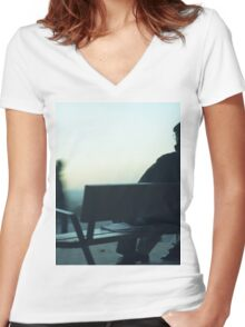 Man sitting on park bench in winter square Hasselblad medium format film analog photography Women's Fitted V-Neck T-Shirt