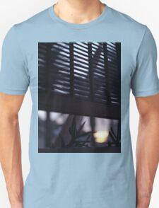 Beach house window at dawn Ibiza Spain square Hasselblad medium format film analog photographer Unisex T-Shirt