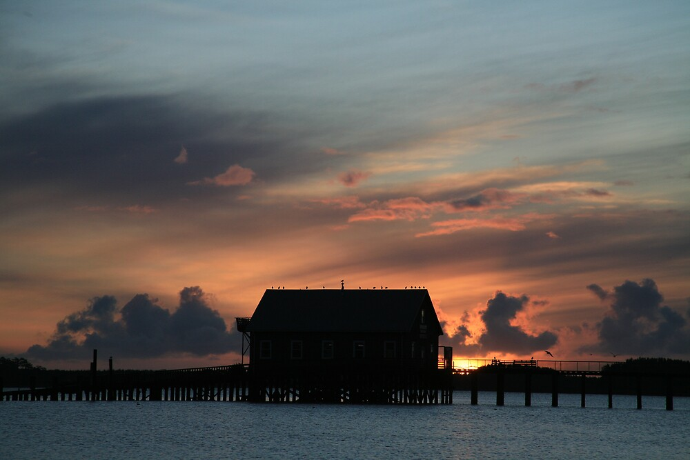 Sunset at the Coast Guard Station by Randy Richards