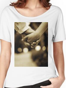 Bride and groom holding hands sepia toned black and white silver gelatin 35mm film analog wedding photograph Women's Relaxed Fit T-Shirt
