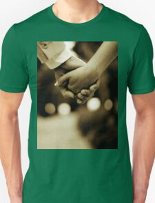 Bride and groom holding hands sepia toned black and white silver gelatin 35mm film analog wedding photograph Unisex T-Shirt