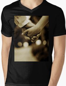 Bride and groom holding hands sepia toned black and white silver gelatin 35mm film analog wedding photograph Mens V-Neck T-Shirt